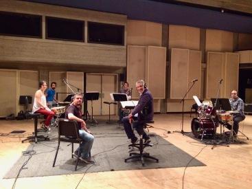 Alfredo Rugeles, Justo Morao y fila de percusión de la Orquesta Sinfónica de Venezuela