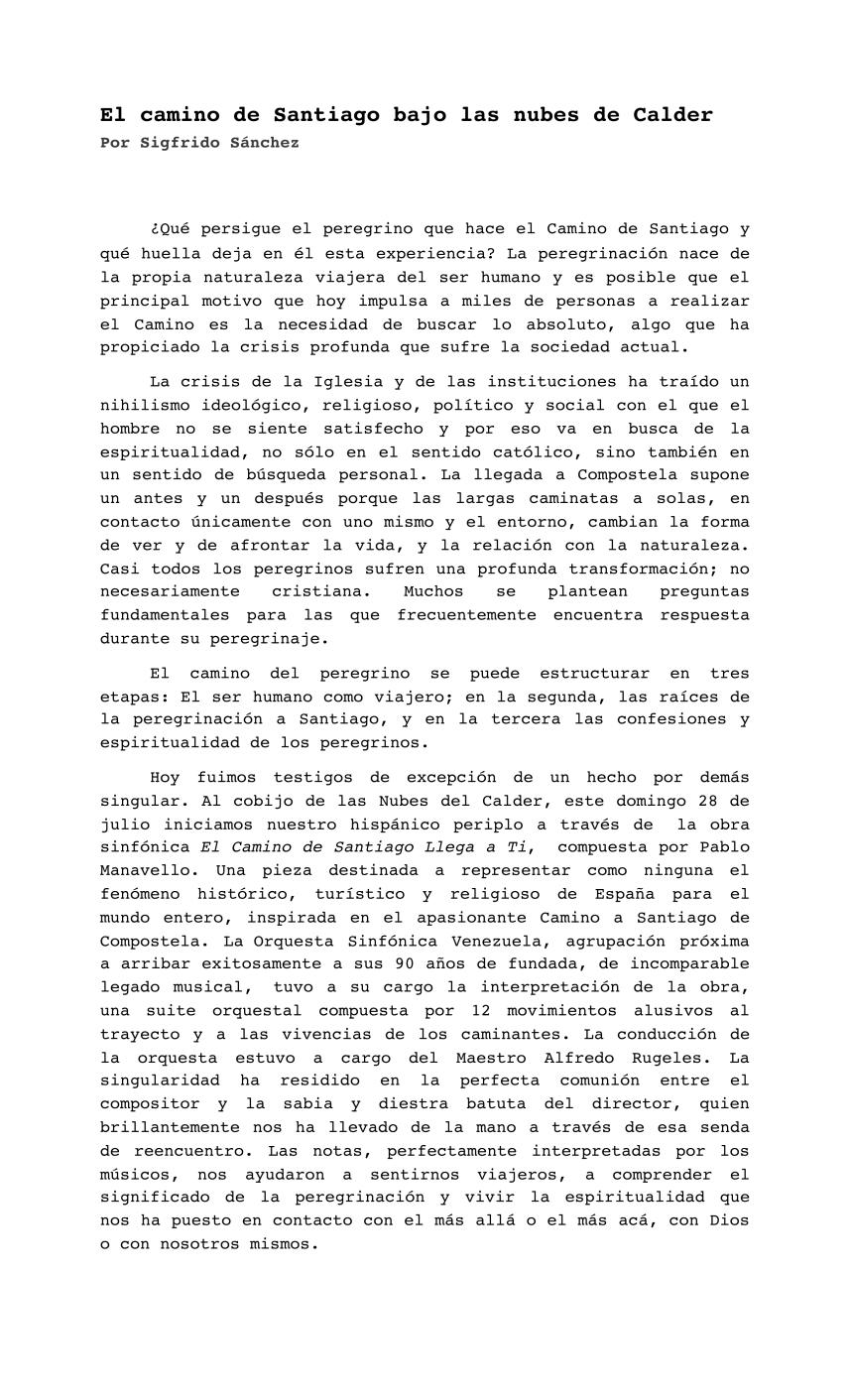 """Artículo de prensa del concierto de """"El Camino de Santiago llega a ti"""" en Caracas, julio 2019"""